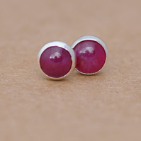 Genuine Ruby sterling silver stud earrings, quality handcrafted jewellery 5mm