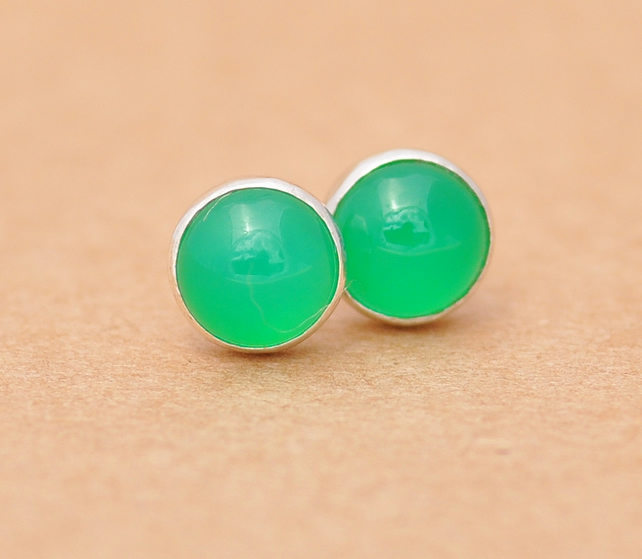 Handmade Green Onyx Earrings with Sterling Silver studs, 6 mm