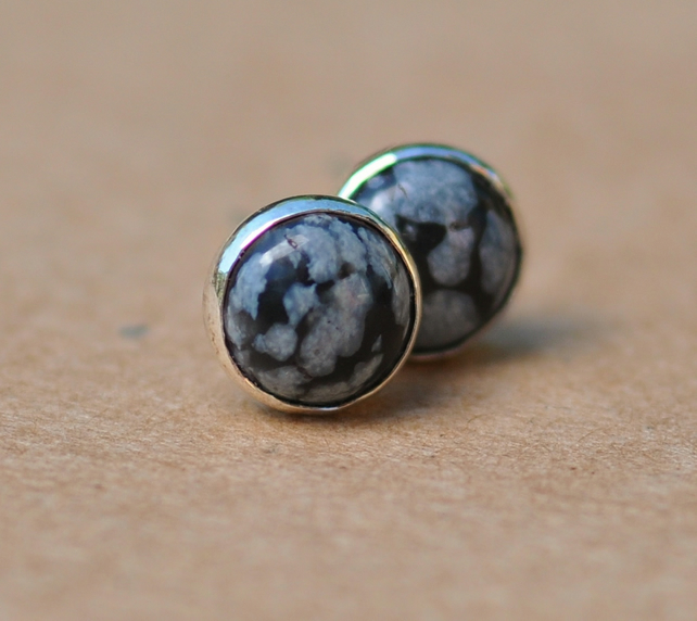 Handmade Snowflake Obsidian Earrings with Sterling Silver Earring studs, 6mm