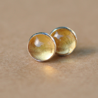 Yellow Citrine Earrings, Sterling Silver Studs. 6 mm gemstone birthstone