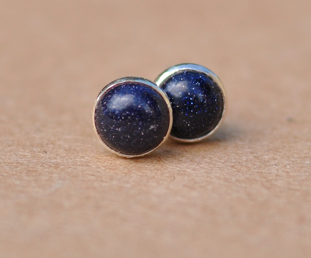 Blue Goldstone Earrings,  6 mm silver sterling studs, gemstone jewellery gifts