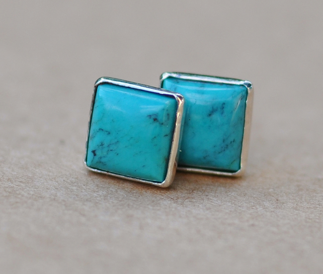Handmade Square Turquoise sterling silver earrings