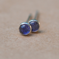Blue Iolite Earrings, Sterling Silver Studs.  Small 3 mm unisex second piercing