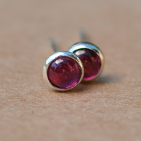 Small Garnet Earrings, Silver Studs. 3 mm Pink Red gemstones second piercing
