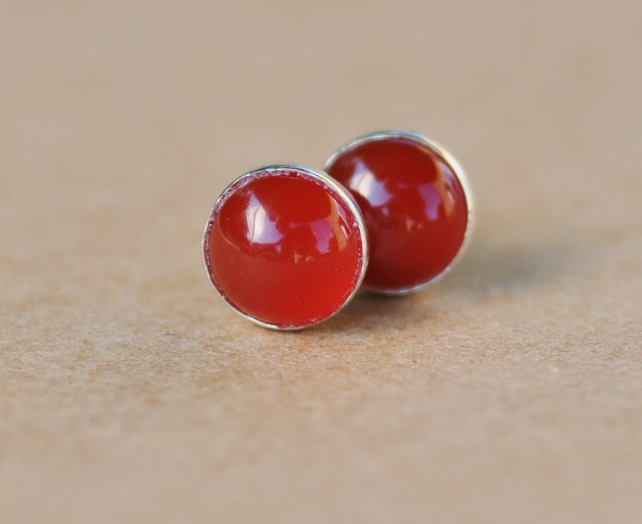 Handmade Carnelian Earrings with Silver Studs, 6 mm Carnelian Gemstones