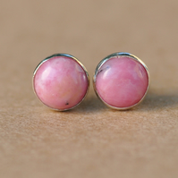 Handmade Rhodonite and sterling silver earrings
