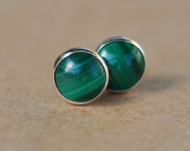 Green Malachite Earrings with Sterling Silver Studs. 6 mm Handmade