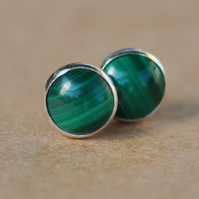 Malachite Earrings, Sterling Silver Studs. 6 mm green gemstone Handmade jewelry