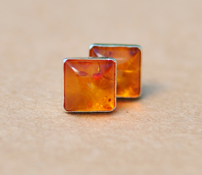 Square Amber Earrings Sterling Silver Earring Studs 6 Mm Natural