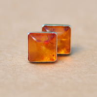 Handmade Square Amber Earrings with Sterling Silver Earring Studs, 6 mm