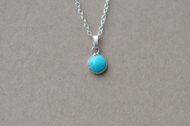 Handmade Turquoise and sterling silver pendant necklace