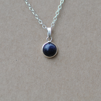 Handmade Blue goldstone and sterling silver pendant necklace