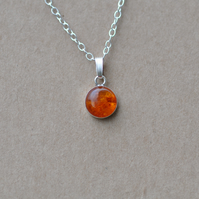 Handmade Amber and sterling silver pendant