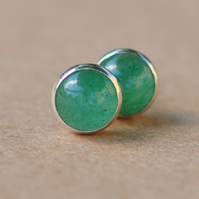 Aventurine and sterling silver earrings, Handmade