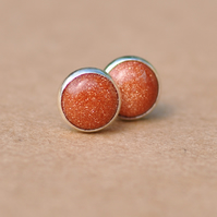 Handmade Goldstone Earrings with Sterling Silver Studs in Sparkly Brown, 6 mm