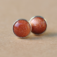 Handmade Goldstone Earrings 8mm