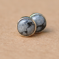 Snowflake Obsidian stud earrings, sterling silver 5 mm gemstone jewellery studs