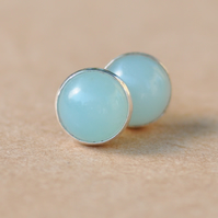 Handmade Amazonite and sterling silver earrings, 8 mm