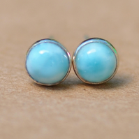Blue Larimar studs ,sterling silver gemstone earrings 5 mm cloudy sky jewellery