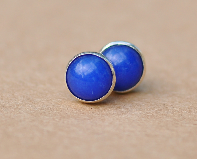 Lapis Lazuli stud Earrings handmade with Sterling Silver Earring studs, 6 mm