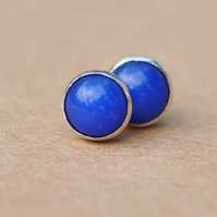 Lapis Lazuli Earrings, blue Sterling Silver Earring studs, 6 mm
