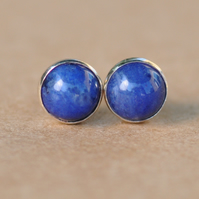 Sodalite gemstone Earrings with Sterling Silver Earring studs. 6 mm blue gems