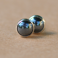 Grey Hematite Earrings, Sterling Silver Haematite Earring studs, 6 mm Gemstones