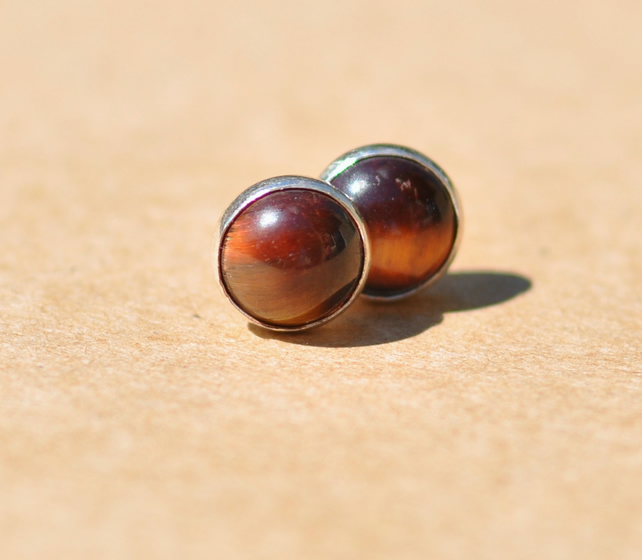 Handmade Red Tiger's Eye Earrings with Sterling Silver studs, 6 mm Gemstone