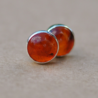 Handmade Amber and sterling silver earrings 5mm
