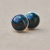 Handmade Bloodstone earrings with sterling Silver earring studs 6mm