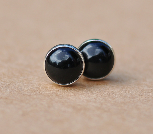 Black Onyx earrings with Sterling Silver studs, 6 mm Handmade