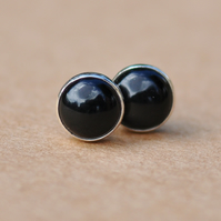 Black Onyx earrings, Sterling Silver studs, 6 mm Handmade mens and womens