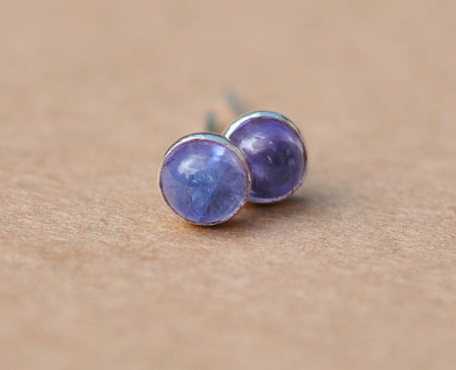 Handmade Tanzanite and sterling silver earrings