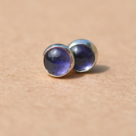 Handmade Blue lolite earrings, 5 mm