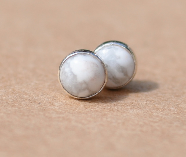 Howlite and sterling silver earrings, Handmade
