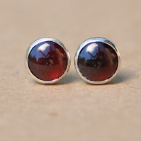 Red Garnet Earrings, 8 mm sterling silver studs, January Birthstone gift