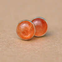Handmade Sunstone and sterling silver earrings, 8 mm