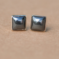Handmade Hermatite and sterling silver earrings
