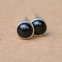 Black Onyx earrings with Sterling Silver studs, 4mm Handmade