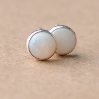 Genuine Opal Earrings with Sterling Silver studs. 5 mm white gemstone jewellery