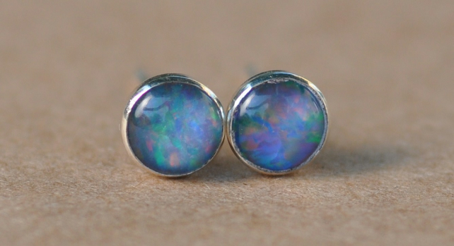 Blue Opal Earrings Sterling Silver Studs 5mm Gemstone Cabochon Handmade