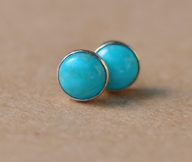Handmade Turquoise and Silver Earrings with Sterling Silver studs, 6 mm