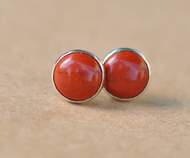 Handmade Jasper earrings with Sterling Silver studs in Orangy Red, 8mm Gemstone