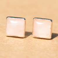 Square Rose Quartz Earrings with Sterling Silver Earring Studs, 6 mm Handmade