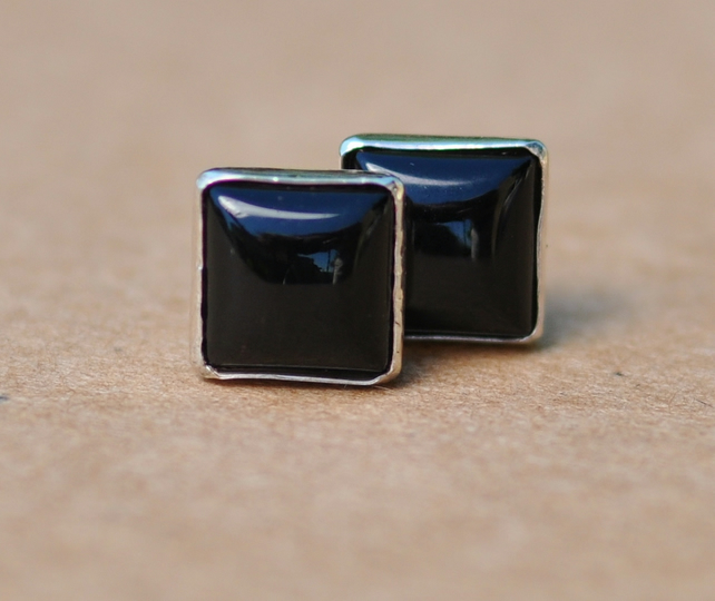 Handmade Black Onyx and Sterling Silver Earrings. 6 mm Square