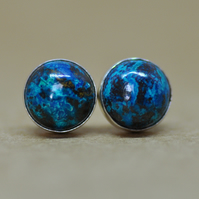 Blue Chrysocolla earrings, sterling silver gemstone studs, 8 mm thank you gift