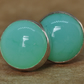 Chrysoprase earrings. Chrysoprase studs handmade with Sterling Silver. 8 mm