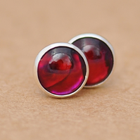 Red Paua shell stud earrings, Sterling silver Abalone 6 mm jewellery gift
