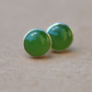 Green Nephrite Earrings, Sterling Silver Studs. 6 mm dark jade gemstone gift