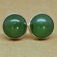 Nephrite Jade Earrings, Sterling Silver Studs. 8 mm dark green gemstone gift